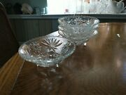 Vintage Star Of David And Fan, Footed Anchor Hocking, Clear Glass Bowls Set Of 4