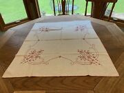 Square Table Cloths Embroidered Purple Gingham Red Work Fiesta Plaid Vintage Lot