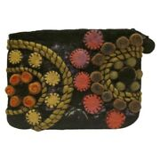 Rising Tide Nepal Wool Clutch Wallet Purse Embellished Colorful Puffy Design