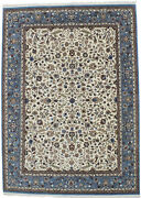 Cream Hand-knotted Floral Indo-kirman 7x9 Home Decor Oriental Rug Wool Carpet