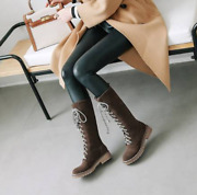 Size 35-43 Womens Winter Fleece Lined Lace Up Gothic Mid Calf Flats Boots Shoes