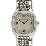 .auth David Yurman Thoroughbred Sterling And Steel Diamond Mop Dial Watch T304