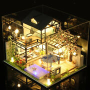 Dollhouse Led Light And Dustproof Cover Wood Garden Villa 3d Puzzles For Girls