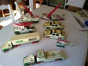 Vintage 1990and039s Hess Toy Vehicles Trucks Fire Engine Helicopter Police Car