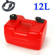 Portable 12l Outboard Boat Marine Fuel Gas Tank With Male Connector + Fuel Line