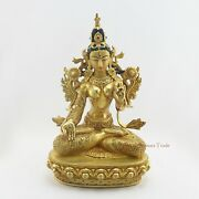 24 K Gold Gilded Finely Hand Carved White Tara Dholkar Copper Statue From Patan