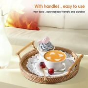 Rattan Hand-woven Round Serving Tray Food Storage Plate With Wooden Handles
