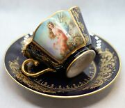 Collectible Hand Painted Royal Vienna Porcelain Bone China Cup And Saucer