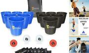 12pcs Giant Buckets And Balls Yard Pong Tossing Game Set With Carry Blueandblack