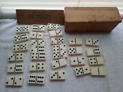 Vintage Seagrams 100 Pipers Scotch Whisky Dominoes Set Of 28 In Box From 1930s