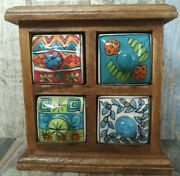 Vintage Wooden Tea Coffee And Jewelry Old Box Wood Hand Carved Cabinet Drawers