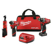 Milwaukee 2598-2457 M12 Fuel Hammer Drill And Impact Driver Kit W/ Ratchet New