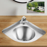 Triangular Stainless Steel Sinkboat Hand Washing Sink With Faucet Drain Plug