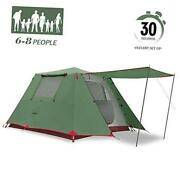 Family Camping Tent Large Waterproof Pop Up Tents 4/6 Person Room 6p Green