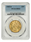 1903-o 10 Pcgs Ms63 - New Orleans Gold - Liberty Eagle - Gold Coin