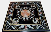 Black Marble Office Meeting Table Antique Design Dining Table Top 36 Inches