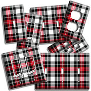 Red Black White Plaid Tartan Pattern Light Switch Outlet Wall Plates Room Decor