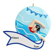 Personalized Swimmer Swimming Girl Swims In Pool Christmas Ornament