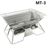 Stainless Steel Portable Folding Furnace Outdoor Bbq Camping Grill Stove Set