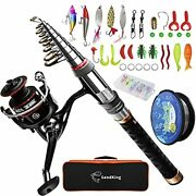 Fishing Pole Kit Carbon Fiber Telescopic Fishing Rod And Reel Combo With Gear Set
