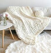 New La Reine Chunky Knit Blanket Chenille - Bundle With Knitted Throw Pillow - B