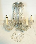 Vintage Crystal Glass 5-arm Chandelier For Parts/repair Dangling Prisms Clear
