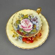 J A Bailey Signed Aynsley England Bone China Cabbage Rose Gold Tea Cup Saucer