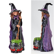 12 In. Halloween Decor Figure - Witch Stirring Overflowing Pot With A Broom