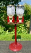 Vintage Gumball/candy Machines - Dual Machines W/locks And Keys On Metal Stand