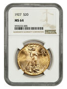 1927 20 Ngc Ms64 - Saint Gaudens Double Eagle - Gold Coin