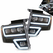 Vland Full Led Reflector Headlights /w Sequential Turn For 2009-2014 Ford F-150