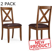2 Pack Brown Dinning Chairs Kitchen Table Seat Farmhouse Rustic Wood Padded New