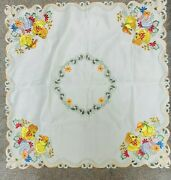Vintage Embroidered Easter Tablecloth Retro Ducks Meyercord Style