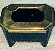Vintage Art Deco Chase Black Glass And Ashtray W/ Brass Slide Top