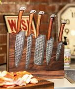 Custom Handmade Hand Forged Damascus Steel Chef Knife Set Kitchen Knives-cutlery