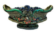Antique 19th C. Villeroy And Boch Schramberg Majolica Console Bowl 587 Floral Bird