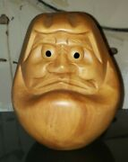 Large Vintage Japanese Daruma Doll Carving Wood Head Kokeshi 8and039and039 Wishing Lucky