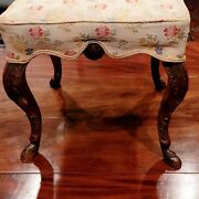 A Fine French Regence Carved Walnut Hoof Footed Stool
