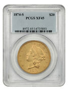 1874-s 20 Pcgs Xf45 - Liberty Double Eagle - Gold Coin
