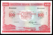 Scarce 1977 Ulster Bank Ltd Belfast Andpound100 Banknotes Real Money Notes Vf