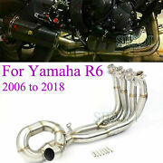 1x Motorcycle Full Exhaust Headers Front Link Pipe For Yamaha Yzf R6 2006-2018