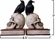 8.5 Inch Bookends Ravens On Skulls Bookend Gothic Poe Crow Reading Bookshelf