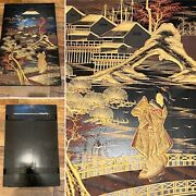🌟black And Gilt Chinoiserie Wooden Painted Panel Picture Wall Hanging 1