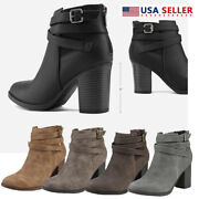 Womens Zipper Chunky Ankle Boots Casual Mid Heel Block Shoes Booties Brown Taupe