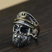 Ww2 German Admiral Navy Skull Ring 925 Sterling Silver Unisexe Resizable Repro