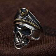 Ww2 German Officer Skull Ring 925 Sterling Silver Resizable With Eagle Cap Repro