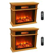 Lifesmart Lifepro 3 Element Portable Electric Infrared Fireplace Heaters Pair