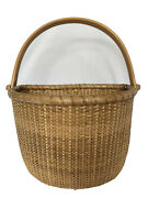 Vintage Nantucket Style Lightship Basket Wood And Cane Flat Backed 9andrdquox 6.25andrdquo