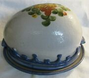 Rare Louisville Stoneware Blue Country Flowers Meat Dome And Underplate