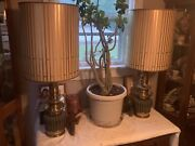 Pair Of Stiffel Brass Table Lamps W/ Original Shades 1950andrsquos-1960andrsquos